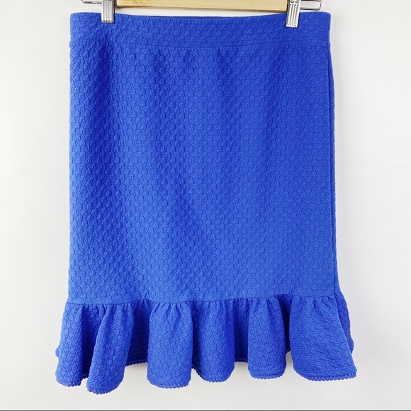 9-H15 Anthropologie blue skirt with ruffles